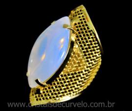 Anel Tela Pedra da Lua Opalina Navete Armação de Luxo Elegante Ajustavel Dourado  AC3117