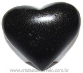 Coraçao Quartzo Preto Quartzito Negro Natural Cod 115341