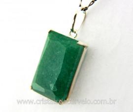 Pingente Facetado Pedra Quartzo Verde Prata 950 caixinha Garra Reforçado