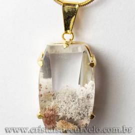 Pingente Pedra Cristal Lodolita Baguette Garra Dourada 112949