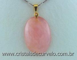 10 Pingente Cabochão pedra QUARTZO ROSA montado Pino Dourado ATACADO