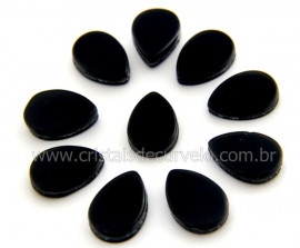 10 Gota Pedra Obsidiana Negra Ranhurado Pra Montagem REFF GR8215