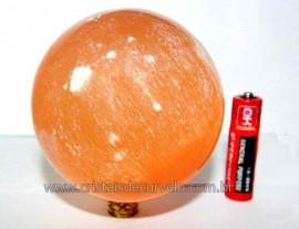 Esfera Selenita Laranja Pedra Natural Boa Qualidade Reff ES7442