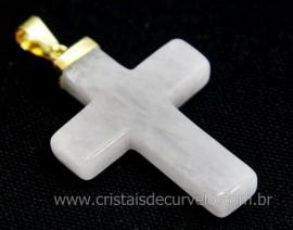 Crucifixo Quartzo Leitoso Pingente Cruz Pedra Natural Montagem Envolto Banho Flash Dourado