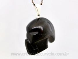 Pingente Caveira ou Cranio de Pedra Obsidiana Negra Natural Montagem Prateado