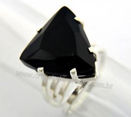 Anel Prata 950 Obsidiana Negra Trillion Montado em Prata de Lei Ajustavel REFF 33.4