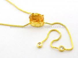Colar Gravata Pedra Citrino Gema Natural Dourado Reff CG2349