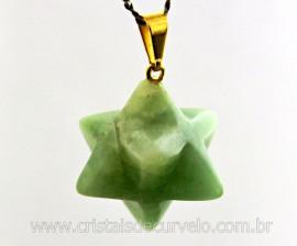 Merkaba Pingente Pedra Amazonita Verde Presilha e Presilha Banho Dourado