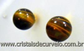 Brinco Bolinha Pedra Olho de Tigre Pino Tarracha Banho Ouro Flasch