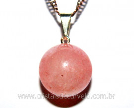 Pingente Bolinha Pedra Quartzo Rosa Pino Prateado