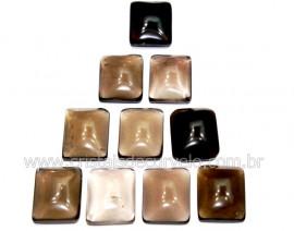 10 Retangulo Cabochao pra Pingente Pedra Quartzo Fume Calibrado 15 x 20 MM