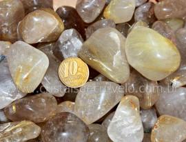 1kg Cristal com Rutilo Pedra Rolado Quartzo Rutilado Semi Transparente T Grande