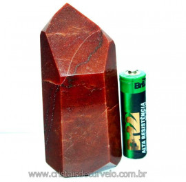 Ponta Quartzo Vermelho Pedra Natural de Garimpo Cod PQ9952
