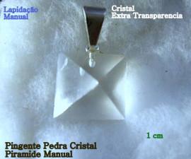 Pingente PIRAMIDE Pedra Cristal Extra Lapidado Facetado Manual Pino Prateado