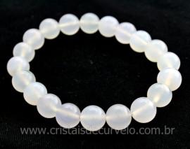 Pulseira Bolinha Pedra Cristal Opalado Fio Silicone PB9298