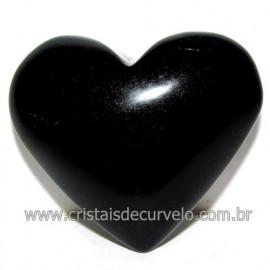 Coraçao de Obsidiana Negra Mineral Lava Vulcanica Cod 117923