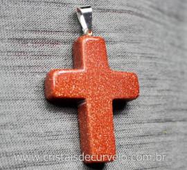Crucifixo Pedra do Sol Pingente Cruzl Pino e Presilha Banho Flash Prata