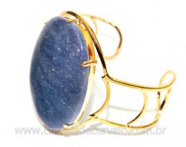Bracelete Fixo Pedra Quartzo Azul Grande Dourado REFF BG1590