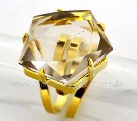 Anel Wicca Pentagrama Pedra Cristal com Tok Fumê Aro Ajustavel Dourado AP7196