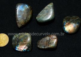 05 Labradorita ou Spectrolite Rolado Pedra Natural De Garimpo Esoterismo Colecionador Ref 67.4