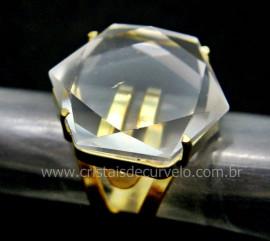 Anel Estrela de Davi ou Selo de Salomao Pedra Cristal Anel Montado na Garra Dourado