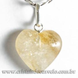 Pingente Mini Coração Citrino Pedra Natural Prata 950 120301