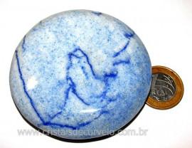 Massageador Disco Quartzo Azul Pedra Natural Cod 103312