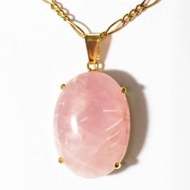 Pingente Extra Cabochao Pedra Quartzo Rosa Montagem Garra Dourado