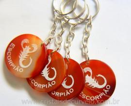 Chaveiro Signo Escorpião Pedra Agata Cornalina Lapidação Disco