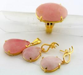 Conjunto Anel Brinco e Pingente Quartzo Rosa Natural Banho Ouro Flash