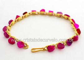 Pulseira Corrente Pedra Agata Rosa Colada Natural Rolada Montagem Banho Dourado PU3463