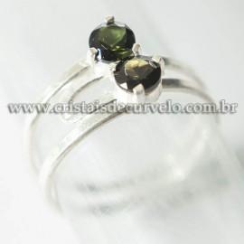 Anel 2 Pedras Turmalina Verde Facetado Prata 950 Ajustavel 125220