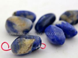 Pedra Rolada Sodalita Furo Vazado Horizontal Artesanato REFF PF3363