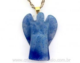 Anjinho Pingente Pedra Quartzo Azul Pino Dourado Reff AP6568