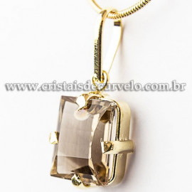 Pingente Pedra Fume Baguette Facetado na Garra Dourada 112532