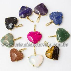 10 Pingente Coração Pedras Mistas na Garra Dourada 112847