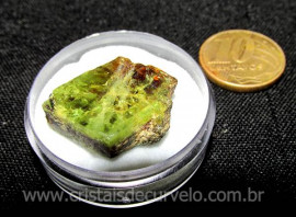 Esfenio Titanita Mineral Bruto Natural no Estojo Cod ET7274