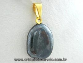 Pingente Pedrinha HEMATITA Pedra Rolado Mineral Natural Montagem Dourado