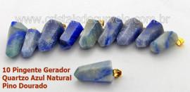 10 Pingente Pontinha Atacado Pedra Quartzo Azul Presilha e Pino Dourado