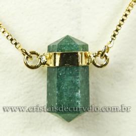 Colar Pedra Quartzo Verde Micro Bi Ponta Natural Envolto Dourado