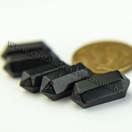 5 Micro pontinha Bi Ponta Obsidiana Negra 15mm pra montar joias