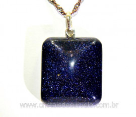 Pingente Retangulo Pedra Estrela Prata 950 Pino Reff PR8150