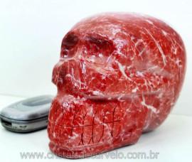 Cranio Pedra Dolomita Vermelha Caveira Esculpido Skull Stone Cod 2.439
