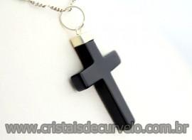 Crucifixo Onix Preto Pingente Cruz Pedra Natural  Banho Flash Prateado