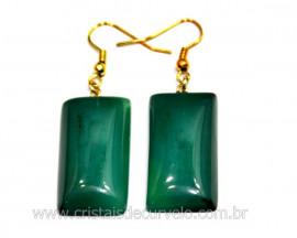 Brinco Retangulo Pedra Agata Verde Montagem Anzol Reff BR7373