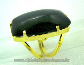 Anel Pedra do Estrela Verde Cabochão Retangular Montagem Banho Flasch Dourado Aro Ajustavel