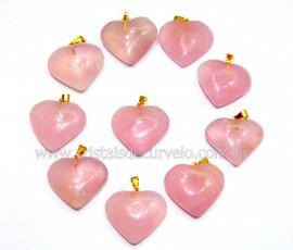 10 Coração ROSA Pedra Quartzo Pingente Banho Dourado