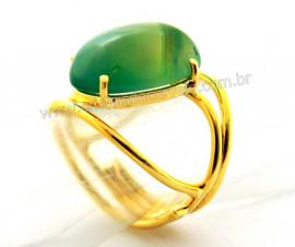 Anel Agata Verde Cabochão Oval Pequeno Dourado REFF CP7493