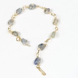 Pulseira Pedra Quartzo Azul Na Gaiola Banho Dourado 113112