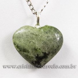 Pingente Coração Pedra Epidoto Natural Pino Prata 950 113132